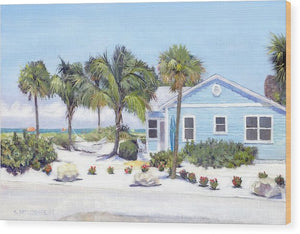 Blue Cottage On Siesta Key Beach, Access 3 - Wood Print
