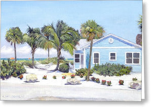Blue Cottage On Siesta Key Beach, Access 3 - Greeting Card