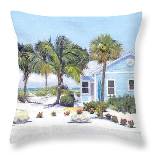 Blue Cottage On Siesta Key Beach, Access 3 - Throw Pillow