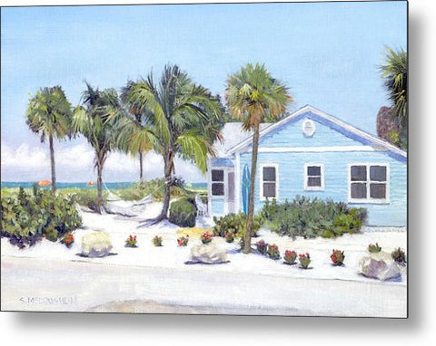 Blue Cottage On Siesta Key Beach, Access 3 - Metal Print
