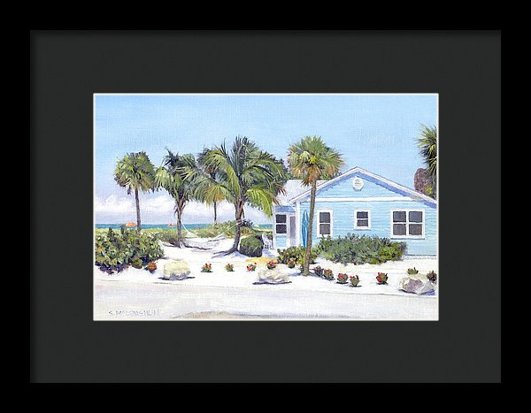 Blue Cottage On Siesta Key Beach, Access 3 - Framed Print