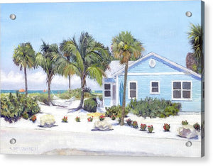 Blue Cottage On Siesta Key Beach, Access 3 - Acrylic Print
