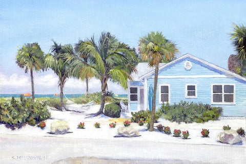 Blue Cottage On Siesta Key Beach, Access 3 - Art Print