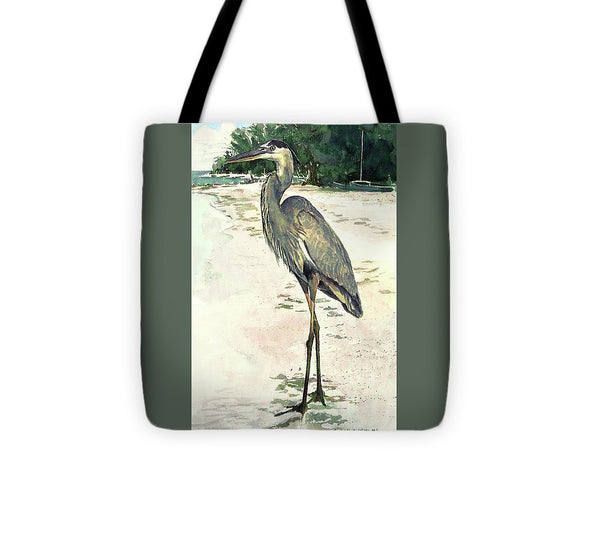 Blue Heron On Shell Beach, Siesta Key - Tote Bag
