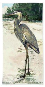 Blue Heron On Shell Beach, Siesta Key - Bath Towel