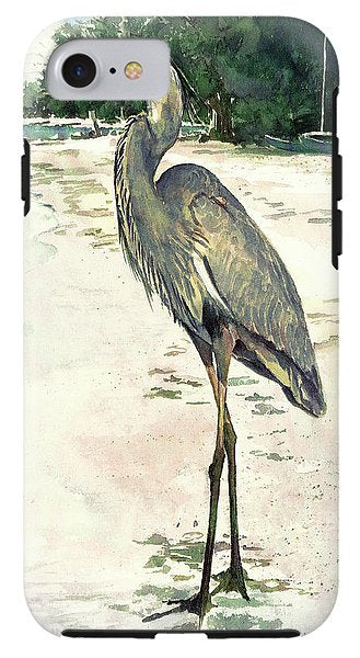 Blue Heron On Shell Beach, Siesta Key - Phone Case