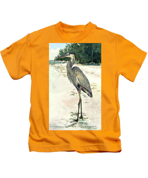 Blue Heron On Shell Beach, Siesta Key - Kids T-Shirt