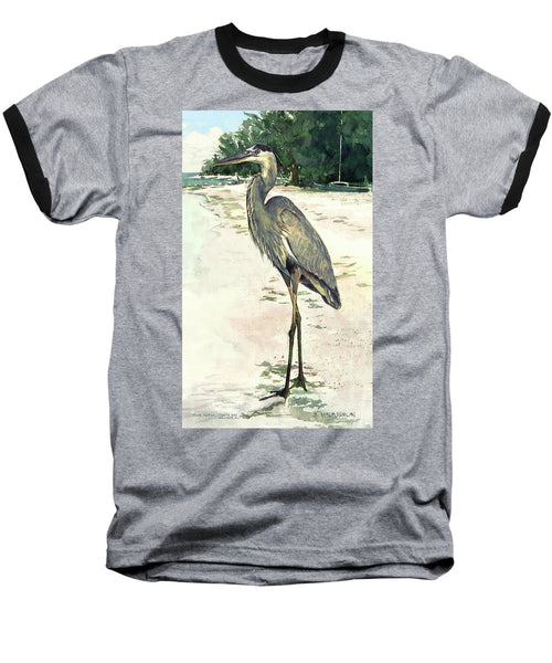 Blue Heron On Shell Beach, Siesta Key - Baseball T-Shirt