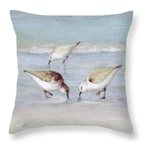 Breakfast On The Beach, Snowy Plover Sandpipers, Siesta Key, Wide-narrow - Throw Pillow