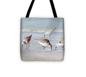 Breakfast On The Beach, Snowy Plover Sandpipers, Siesta Key, Wide-narrow - Tote Bag