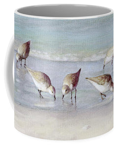 Breakfast On The Beach, Snowy Plover Sandpipers, Siesta Key, Wide-narrow - Mug