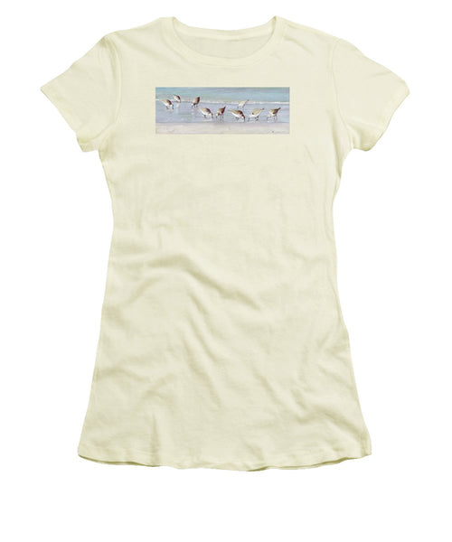 Breakfast On The Beach, Snowy Plover Sandpipers, Siesta Key, Wide-narrow - Women's T-Shirt (Athletic Fit)