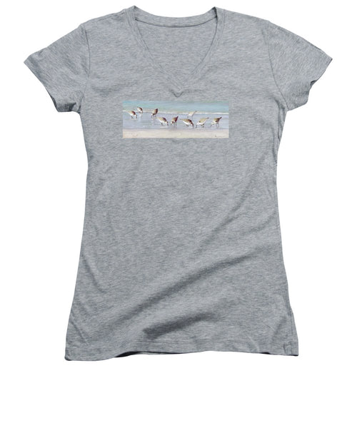 Breakfast On The Beach, Snowy Plover Sandpipers, Siesta Key, Wide-narrow - Women's V-Neck (Athletic Fit)
