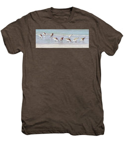 Breakfast On The Beach, Snowy Plover Sandpipers, Siesta Key, Wide-narrow - Men's Premium T-Shirt