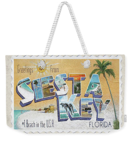 Greetings From Siesta Key Postcard Mural - Weekender Tote Bag