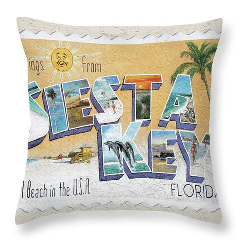Greetings From Siesta Key Postcard Mural - Throw Pillow