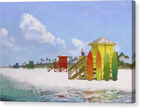 Lifeguard Stations On Siesta Key Public Beach - Canvas Print