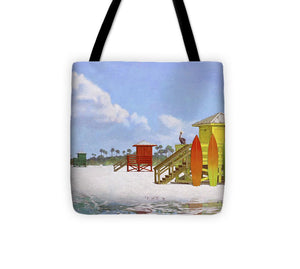 Lifeguard Stations On Siesta Key Public Beach - Tote Bag