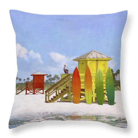 Lifeguard Stations On Siesta Key Public Beach - Throw Pillow