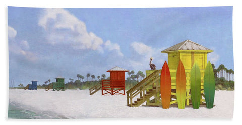 Lifeguard Stations On Siesta Key Public Beach - Beach Towel