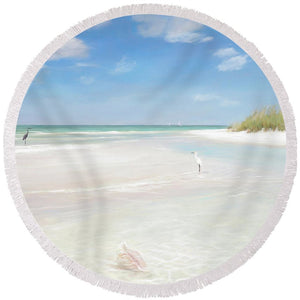 No. Siesta Key, Big Pass, So. Lido Beach - Round Beach Towel