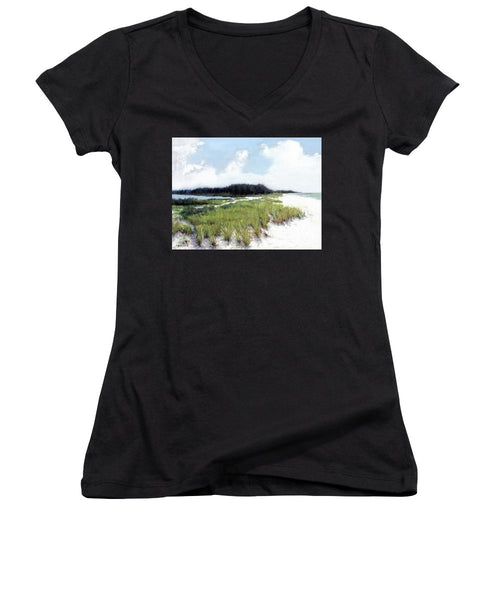 Palme Point, Known As Midnight Pass, Siesta Key - Women's V-Neck (Athletic Fit)