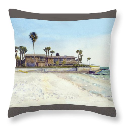 Point Of Rocks With Yellow Kayak - Throw Pillow
