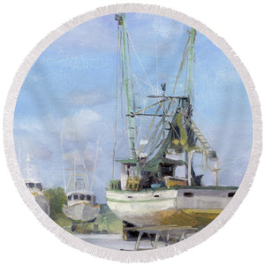 Miss May, Deep Water Marina And Boatyard, Apalachicola, Fl  - Round Beach Towel