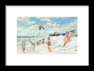 Sandcastles On Siesta Key Public Beach - Framed Print