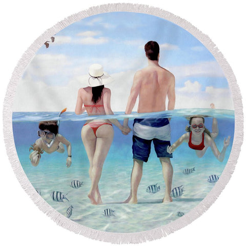 Siesta Beach Resort And Spa Mural - Round Beach Towel