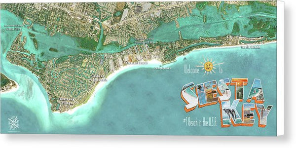Siesta Key Aerial Wall Map - Canvas Print