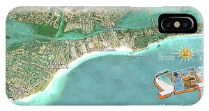 Siesta Key Aerial Wall Map - Phone Case