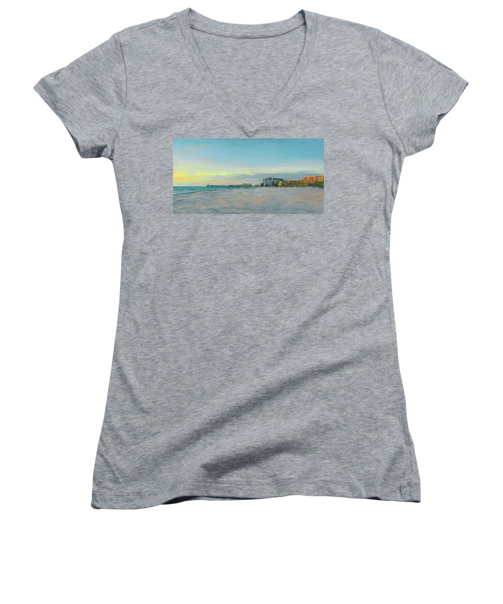 Siesta Key Beach At Dusk - Women's V-Neck (Athletic Fit)