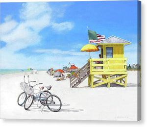 Siesta Key Beach Yellow Lifeguard Station - Canvas Print