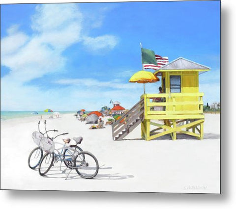 Siesta Key Beach Yellow Lifeguard Station - Metal Print