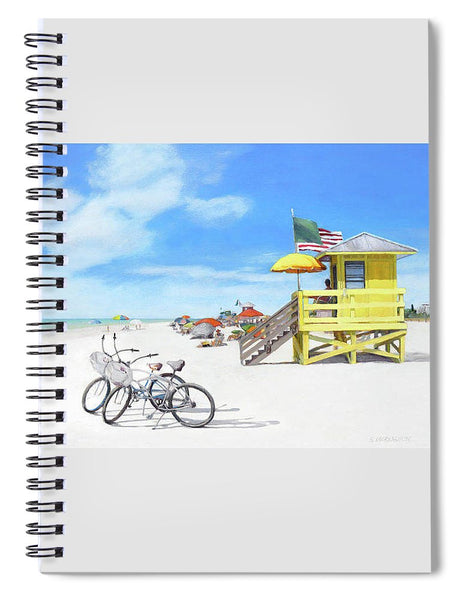 Siesta Key Beach Yellow Lifeguard Station - Spiral Notebook