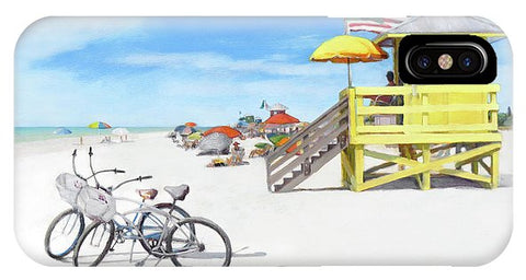 Siesta Key Beach Yellow Lifeguard Station - Phone Case