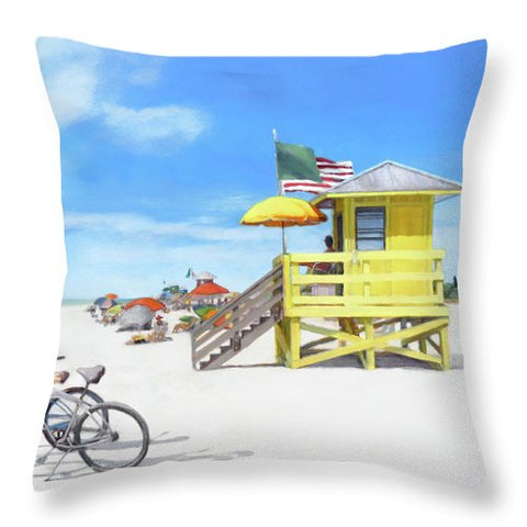 Siesta Key Beach Yellow Lifeguard Station - Throw Pillow