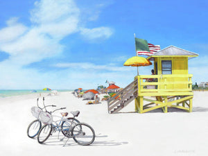 Siesta Key Beach Yellow Lifeguard Station - Art Print