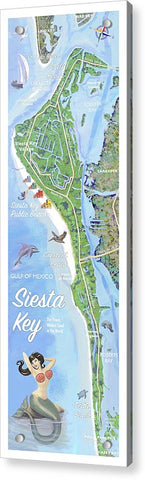 Siesta Key Illustrated Map - Acrylic Print