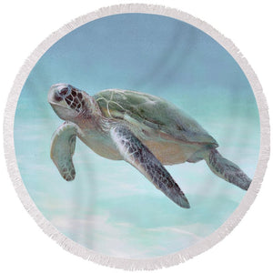 Siesta Key Loggerhead Turtle - Round Beach Towel