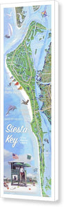 Siesta Key Illustrated Map With Green Lifeguard Station - Canvas Print
