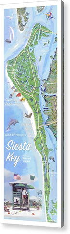 Siesta Key Illustrated Map With Green Lifeguard Station - Acrylic Print