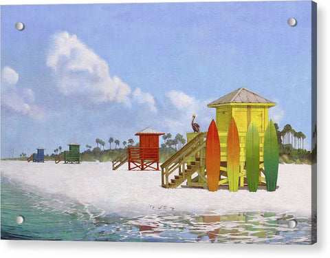 Siesta Key Public Beach Lifeguard Stations - Acrylic Print