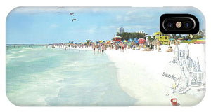 Siesta Key Public Beach With Sandcastle - Phone Case