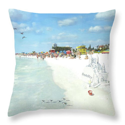 Siesta Key Public Beach With Sandcastle - Throw Pillow
