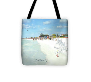 Siesta Key Public Beach With Sandcastle - Tote Bag