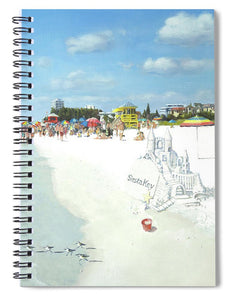 Siesta Key Public Beach With Sandcastle - Spiral Notebook