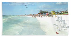 Siesta Key Public Beach With Sandcastle - Bath Towel