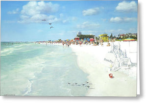 Siesta Key Public Beach With Sandcastle - Greeting Card